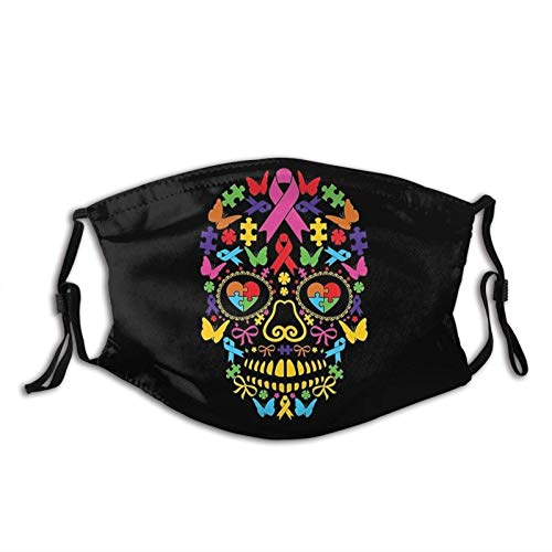 Autism Awareness Sugar Skull Dust Washable Reusable Filter and Reusable Mouth Warm Windproof Dust...