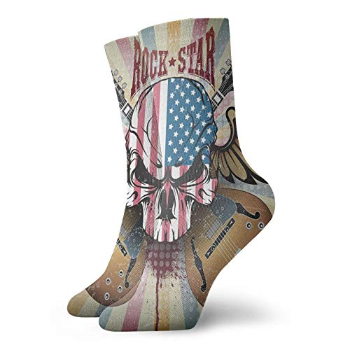 Men's Cotton Crew Athletic Socks Retro Style Composition Angry Skull American Flag Pattern Wings...