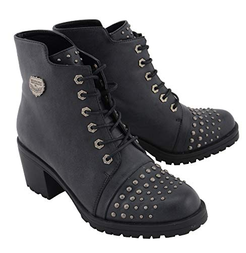 Milwaukee Leather MBL9426 Women's Distress Black Rocker Boots with Studded Instep - 7