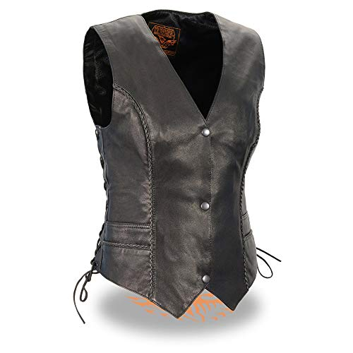 Milwaukee Leather MLL4560 Ladies Black Braided Leather Vest with Side Laces - X-Large