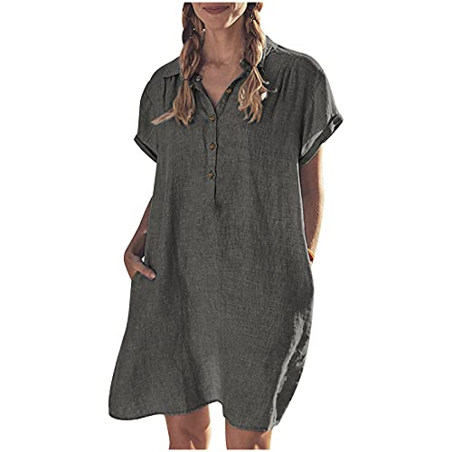 jovati Summer Women Cotton and Linen Dress Fashion Casual Loose V-Neck Button Short Sleeve Solid...