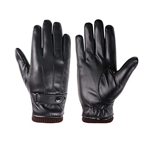 ATHX Men's Winter PU Leather Touchscreen Knitted Cuff Riding Driving Gloves (Black, Free Size)