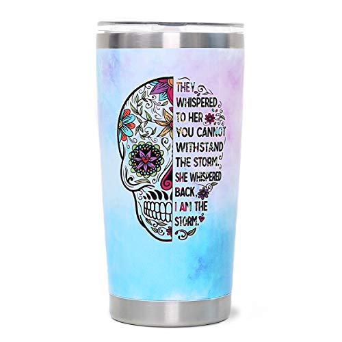 I Am The Storm - 20oz Skull Stainless Steel Tumbler with Lid Blue Vacuum Insulated Tumbler Cup...
