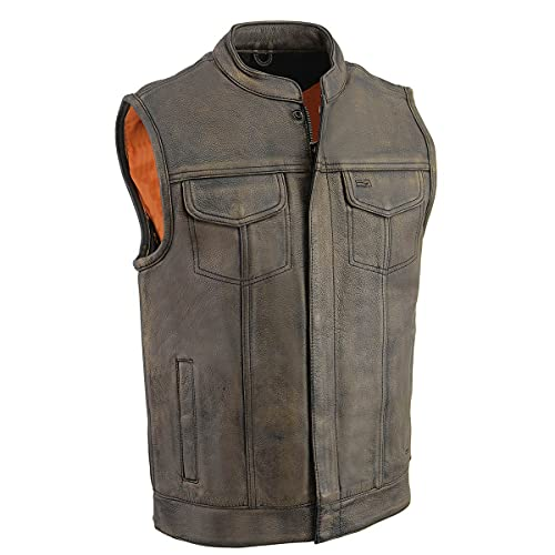 Milwaukee Leather MLM3510 Men's 'Club' Distressed Brown Open Neck Vest with Zipper Closure - X-Large