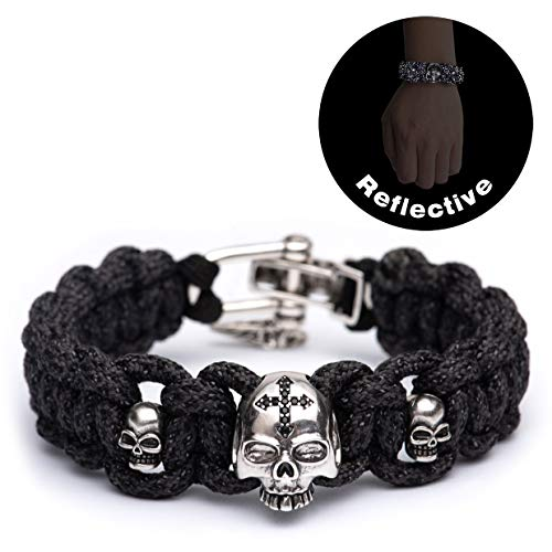 Kayder High Visibility Reflective Paracord Bracelet with Vintage Silver Skull Beads and Adjustable D...