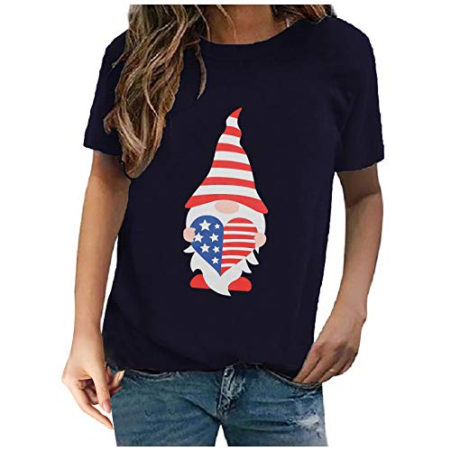 Womens American Flag T-Shirt Cute July 4th Independence Day Patriotic Graphic Tees Tops