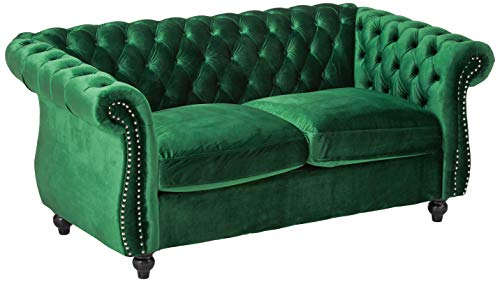 Christopher Knight Home Karen Traditional Chesterfield Loveseat Sofa, Emerald and Dark Brown, 61.75...