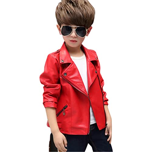 WYKDL Child Outdoor Essential Leather Motorcycle Jacket,for Moto Riding Cafe Racer,Outdoor Sports...