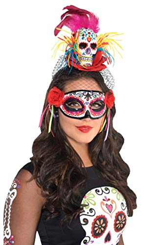 Amscan 846148 Day of The Dead | Sugar Skull Couture Headband, Adult One Size, Black