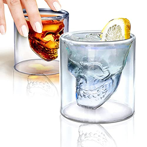 Double Layer Design Skull Whiskey Glass, 6oz / 180ML So Cool Cocktail Beer Cup, Personalized Crystal...