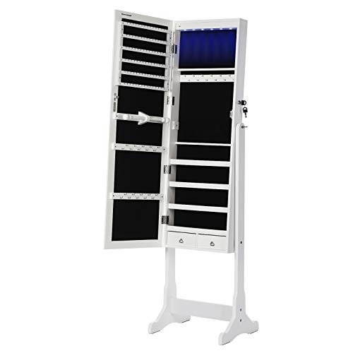 SONGMICS 6 LEDs Jewelry Cabinet Armoire, Lockable Standing Jewelry Organizer, Large Capacity with 2...