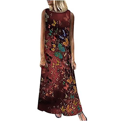 Summer Dress for Women Butterfly Printed Loose Fit Casual Comfy Soft Tank Dress Sleeveless Beach...