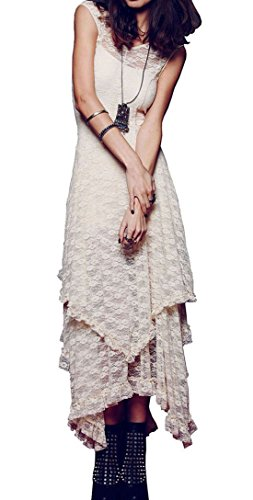 R.Vivimos Womens Sleeveless Backless Asymmetrical Layered Lace Long Dress with Slip Two Pieces...