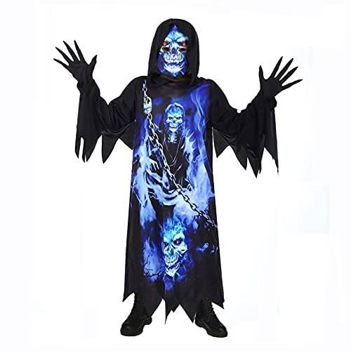 Scary Costumes for Boys Hooded Robe Skeleton Costume with Spooky-gloves and Skull Face Screen,...