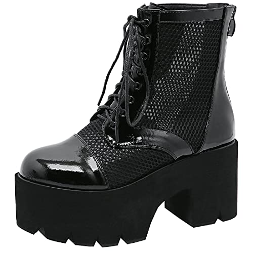 Agodor Women's Goth Platform Chunky High Heels Ankle Combat Boots Lace up Cutout Booties (US 6,...