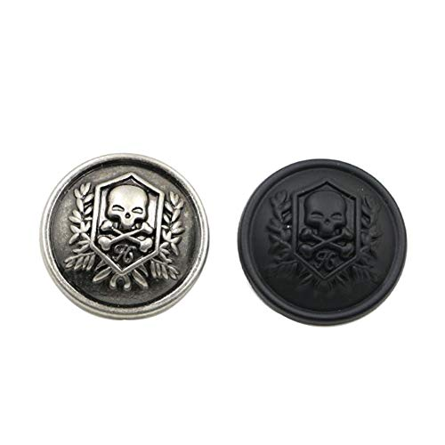Mingchen Metal Skull Buttons for Blazer Sweaters Men and Women (Black/Antique Silver Mixed Colour 20...