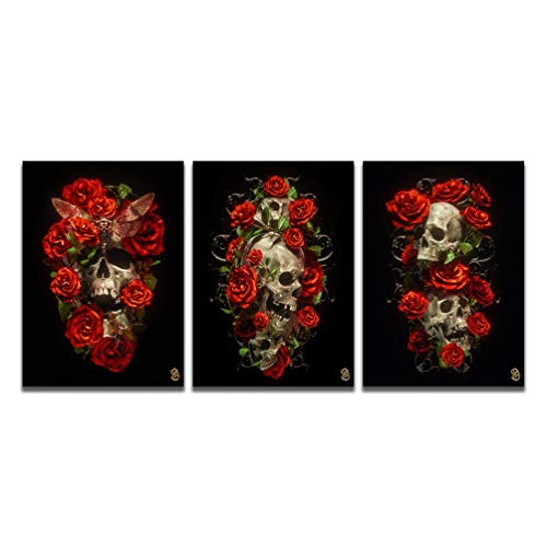 Canvas Contemporary Wall Art for Living Room Modern Red Rose Flower Skull Moth Wild Fashion Prints...