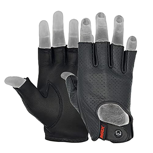 Mens Driving Gloves Basic Soft Goat Leather Fingerless Breathable Biker Motorcycle Riding Cycling...