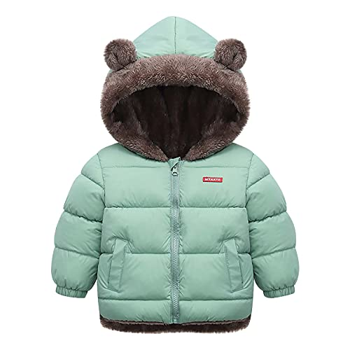 Little Boys Girls Jacket Padded Down Puffer Coat Blouse Plush Lined Solid Baseball Collar Coat with...