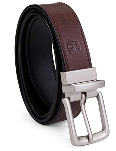 Timberland Men's Classic Leather Belt Reversible From Brown To Black, Brown/black, 38
