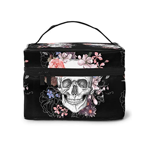 Skull Makeup Bag Organizer for Travel Cosmetic Bags with Handle Toiletry Bags for Women Girls