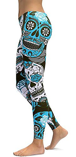 Sister Amy Women's High Waist Skull Printted Ankle Elastic Tights Shiny Legging F-Blue US M