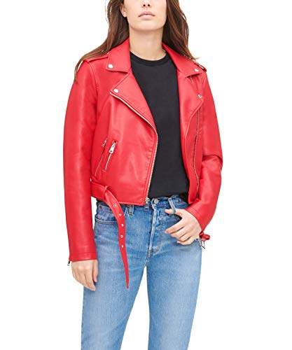 Levi's Women's Faux Leather Belted Motorcycle Jacket (Standard and Plus Sizes), Red, Large