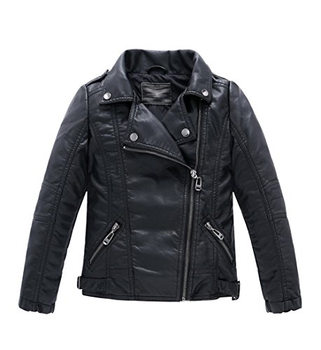 LOKTARC Boys Girls Spring Moto Faux Leather Jackets with Oblique Zipper Black 7-8 Years