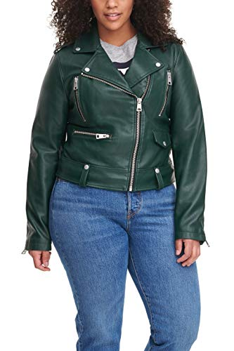 Levi's Women's Faux Leather Contemporary Asymmetrical Motorcycle Jacket, Hunter, Small
