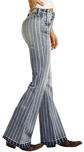 Rock and Roll Cowgirl High-Rise Striped Trousers in Medium Wash, 28W x 38L