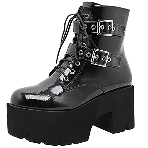 Agodor Women's Goth Punk Combat Boots High Heels Gothic Buckle Platform Chunky Lace up Ankle Boots...