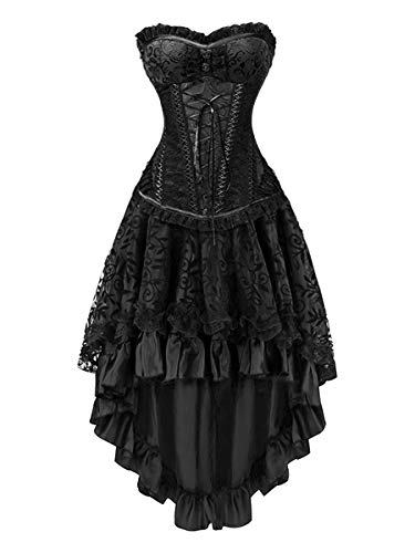 KILLREAL Women's Sexy Masquerade Steampunk Gothic Burlesque Costume Corset with Hi Low Skirt Set...