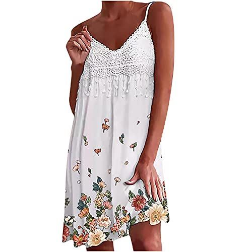 Summer Women Lace Stiching Dress Sexy Sling V-Neck Butterfly Printed Appliques Strap Sleeveless...