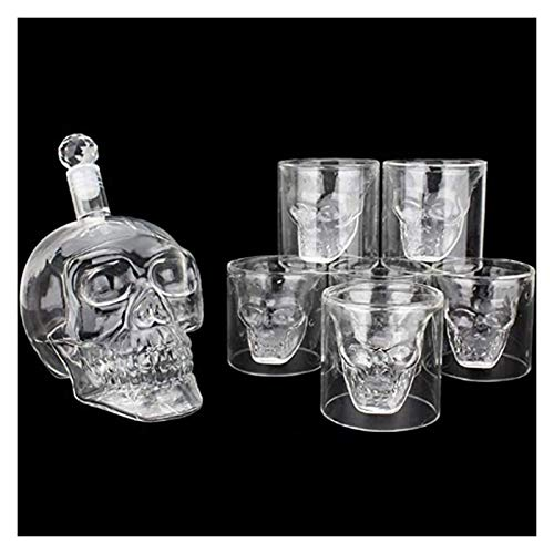 Decanters Whisky Decanter Skull Carafe Crystal 700 Ml Shot Glasses Whisky Set Carafe Decanter With 6...