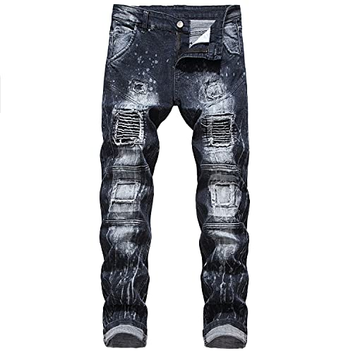Men's Ripped Patch Jeans Stretchy Destroyed Distressed Slim Fit Denim PantsCasual Stretch Straight...