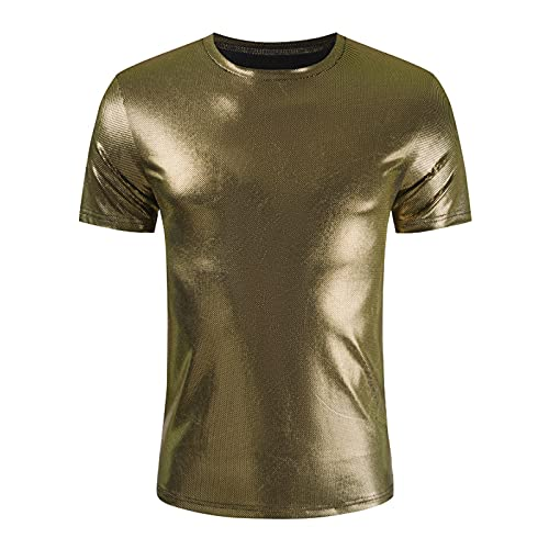 FUNEY Men's Hipster Shiny Metallic Tshirt Short Sleeve V-Neck Slim Fit Muscle Smooth Pullover Tops...