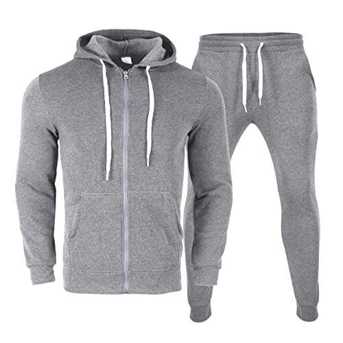 Burband Mens 2 Piece Cotton Hoodie Tracksuit Sets Casual Athletic Jackets and Running Jogger Pants...