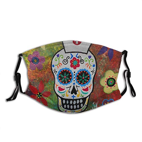Funny Sugar Skull Nurse Design Face Mask Comfortable Reusable And Adjustable Adult Anti Dust Mouth...