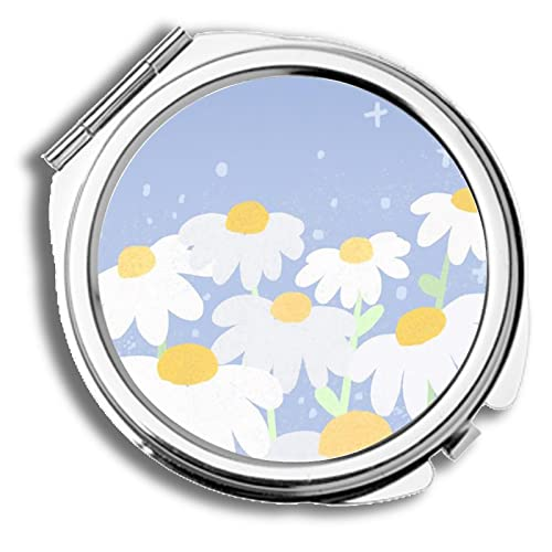 Print with Duck and Peach Compatible with Cosmetic Mirror Amusing for Women Metal
