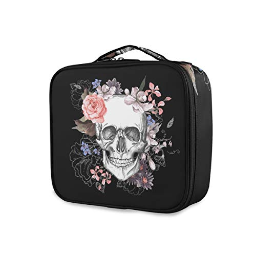 ALAZA Sugar Skull Floral The Day of Dead Makeup Organizers Storage Travel Bag Toiletry Bags
