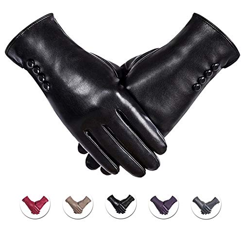 Winter PU Leather Gloves For Women, Warm Thermal Touchscreen Texting Typing Dress Driving Motorcycle...