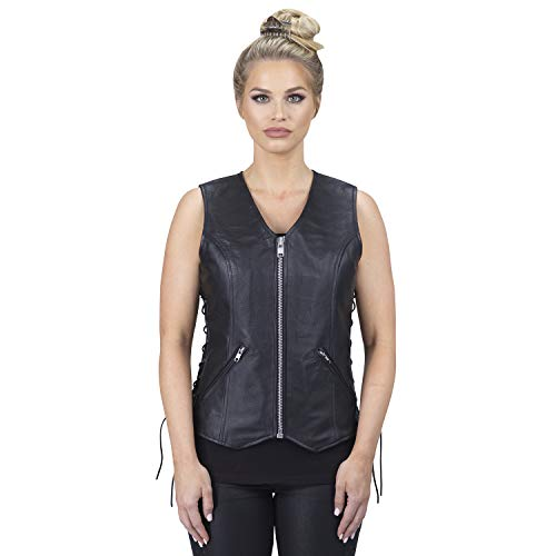 Viking Cycle Haughty Top Grade Cowhide Leather Vest For Women - Classic Genuine Biker Cut Club With...
