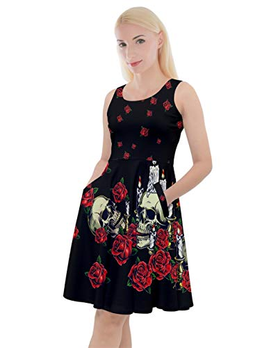 CowCow Womens Roses Floral Sugar Skull Long Skater Dress with Pockets - 2XL