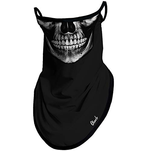Obacle Bandana Face Mask with Ear Loops Neck Gaiter Face Mask Scarf Face Cover for Men Women (Skull...