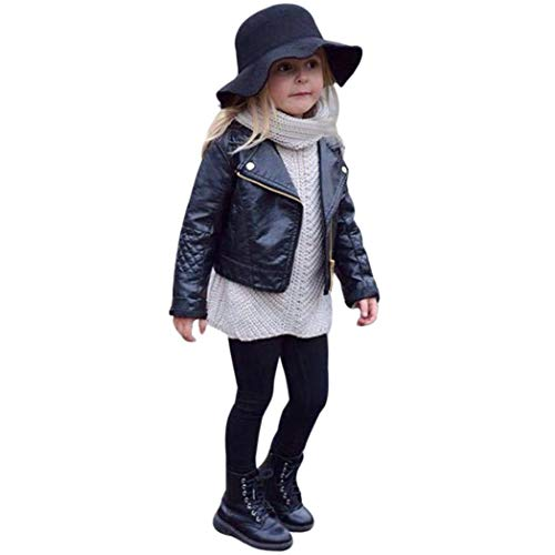CM C&M WODRO Toddler Boys Girls Motorcycle Faux Leather Jackets Coat Winter Outwear for 1-5Y (Black,...
