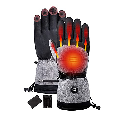 Anniou USB Electric Heated Gloves Winter Warm Hand Gloves Waterproof Screen Touchable Gloves Men...