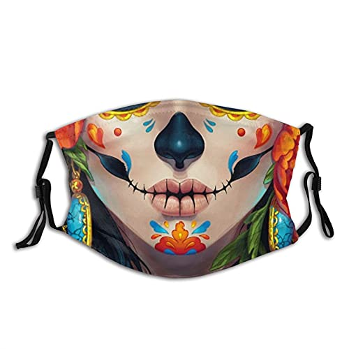 Clown Skull Face Mask Cute Mouth Mask Reusable Washable Balaclavas with 2 Pcs Filters White