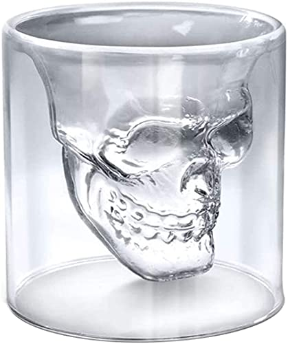 Double Layer Design Skull Whiskey Glass, 8.5oz / 250ML So Cool Cocktail Beer Cup, Personalized...