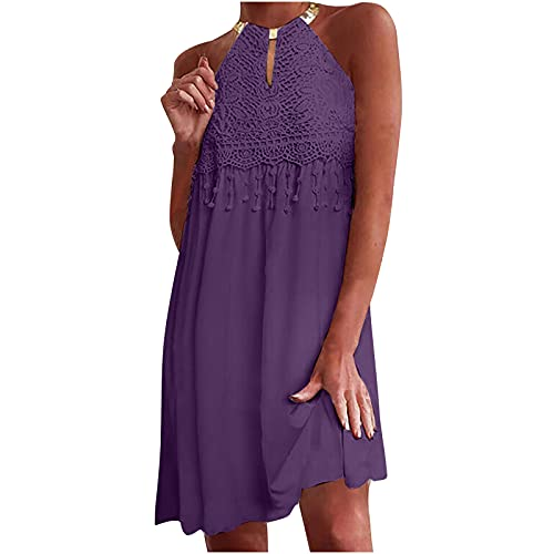 Summer Women Halter Dress Casual Fashion Solid Color O-Neck Hollow Appliques Butterfly Lace Stiching...