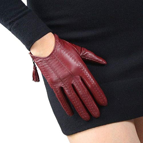 DooWay Women Short Real Leather Gloves Imported Goatskin Leather Touchscreen Warm Driving Tassel...